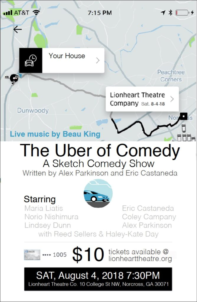 Uber of Comedy sketch comedy show at Lionheart Theatre
