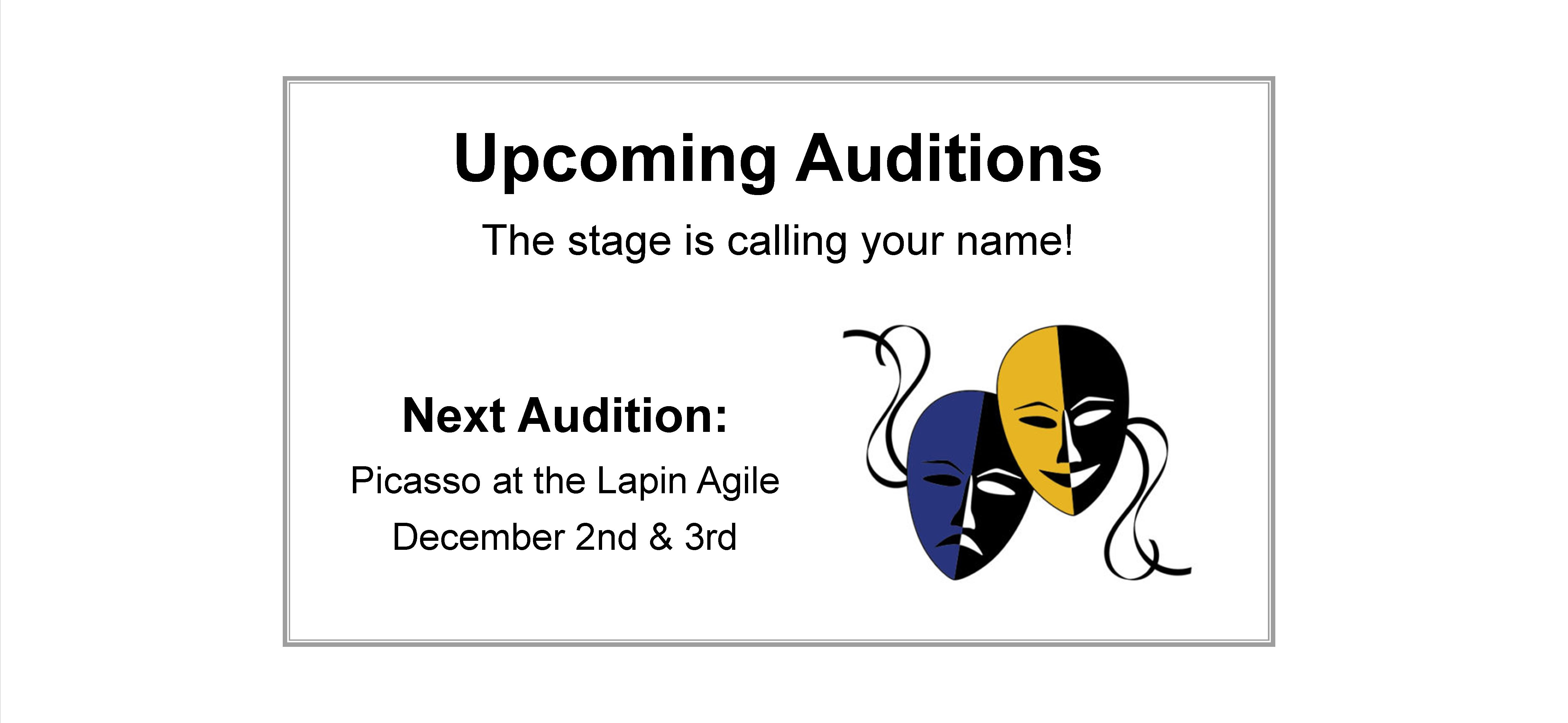 Picasso at Lapin Agile Auditions at Lionheart Theatre in December